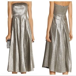 Cedric Charlier Silver Strapless Lame Gown Dress 8